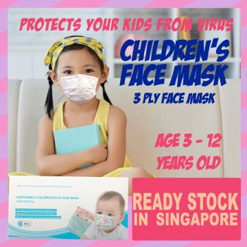READY STOCK 3 PLY Disposable Face Mask for Kids and Children