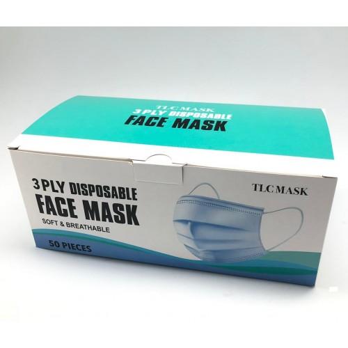 TLC MASK CARTON DEAL 50 x Disposable 3 Ply Face Mask 50 pieces