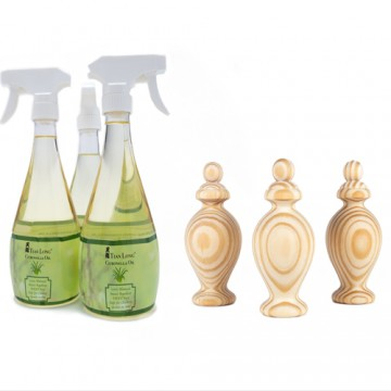 TL Citronella Oil Bundle with Vase Shape Wood Diffuser