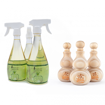 TL Citronella Oil Bundle with Bottle Gourd Wood Diffuser
